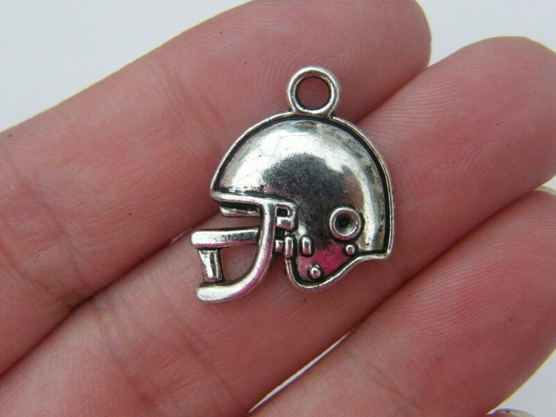 BULK 50 American football helmet charms antique silver tone SP13
