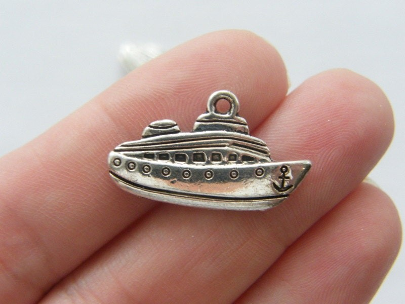 4 Boat cruise ship charms antique silver tone TT49