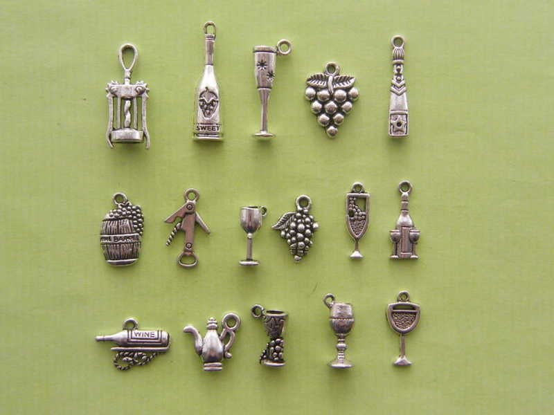 The Ultimate Love Wine  Charms Collection - 16 different antique silver tone charms