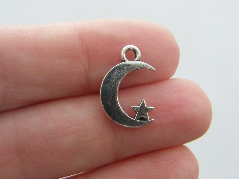 BULK 50 Moon charms antique silver tone M25