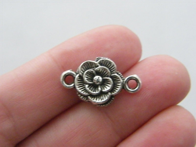 10 Rose flower connector charms antique silver tone F81
