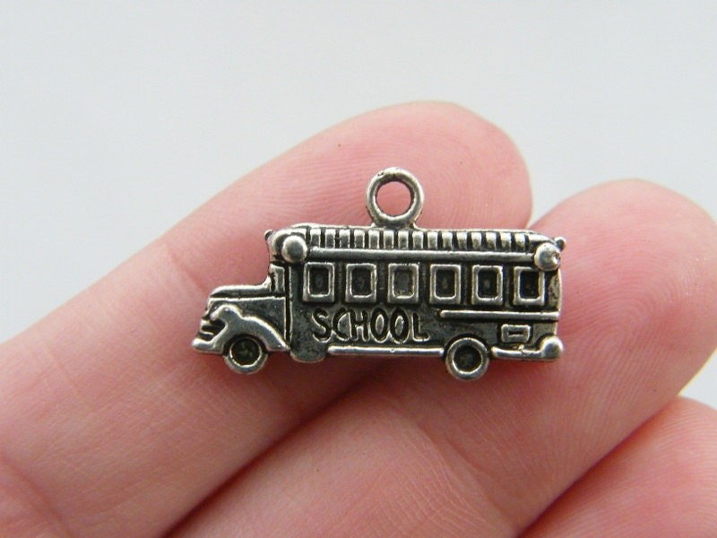 8 School bus charms antique silver tone TT60