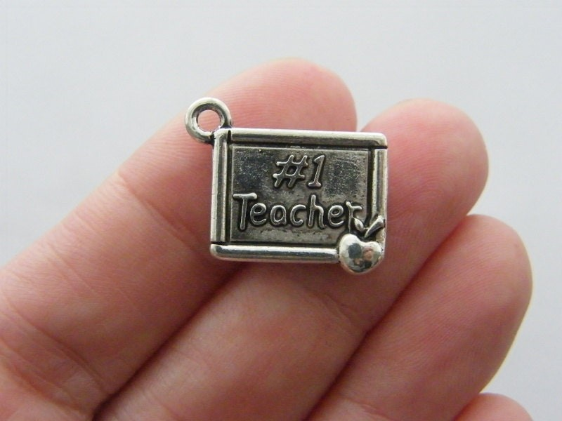 6 #1 Teacher charms antique silver tone PT29