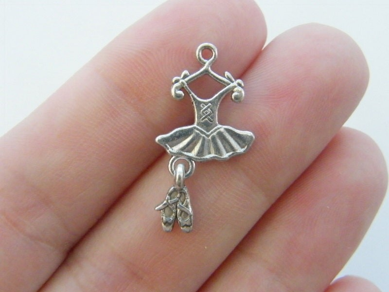 10 Ballet tutu and slipper charms antique silver tone FB26