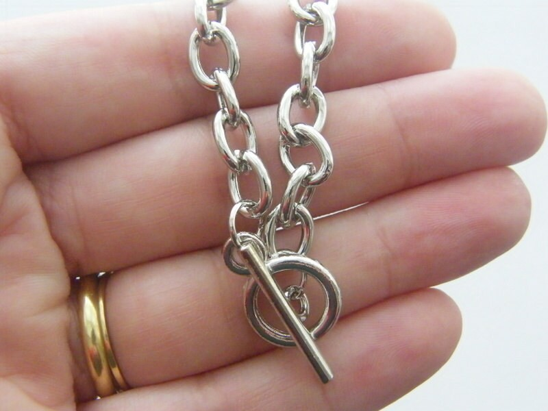 1 Bracelet with toggle clasp 20cm antique silver tone FS451