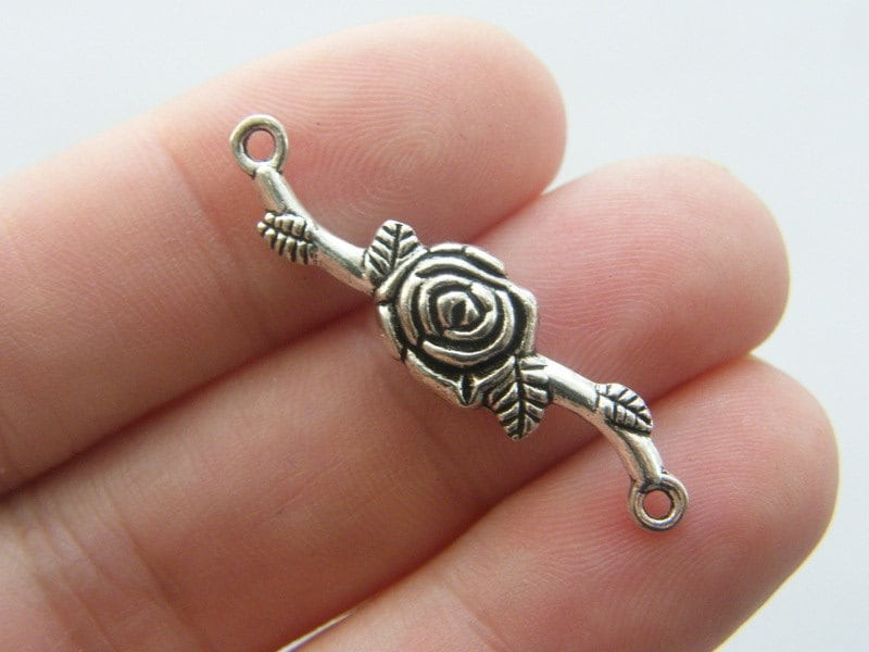 6 Rose flower connector charms antique silver tone F104