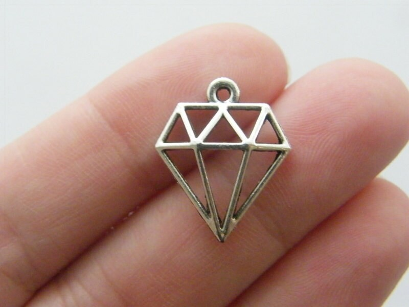 10 Diamond charms antique silver tone P284