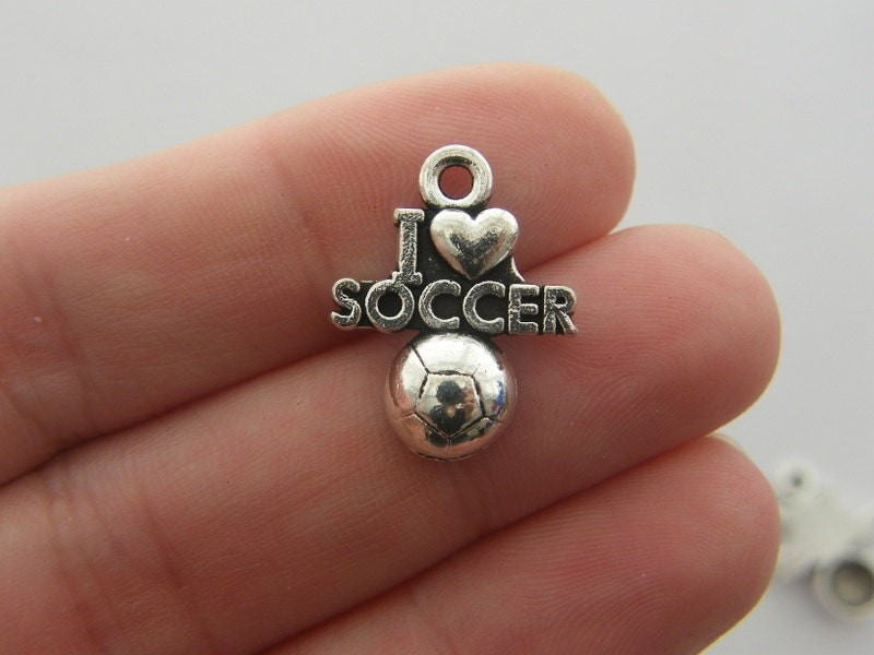 6 I love soccer charms antique silver tone SP33