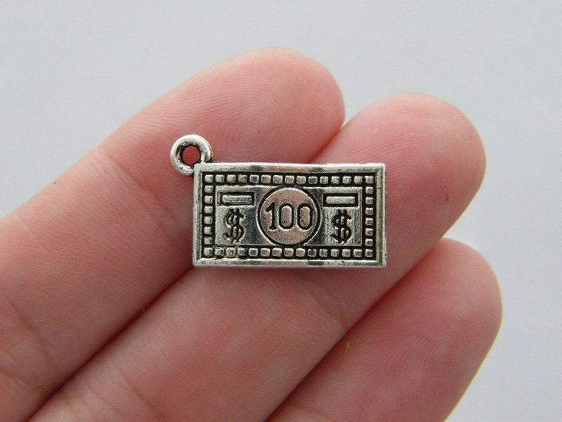 10 One hundred dollar bill charms antique silver tone WT18