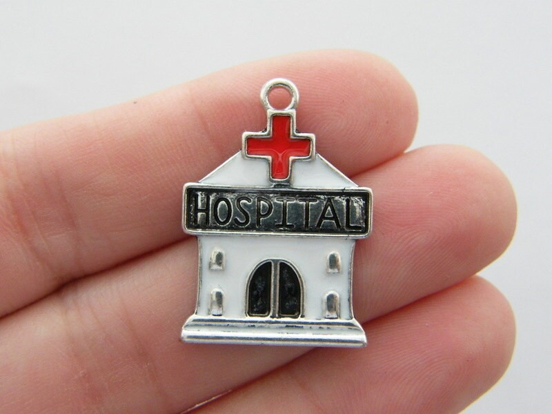 2 Hospital charms antique silver tone MD35