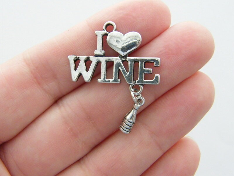 2 I love Wine and a bottle of wine charms antique silver tone FD36