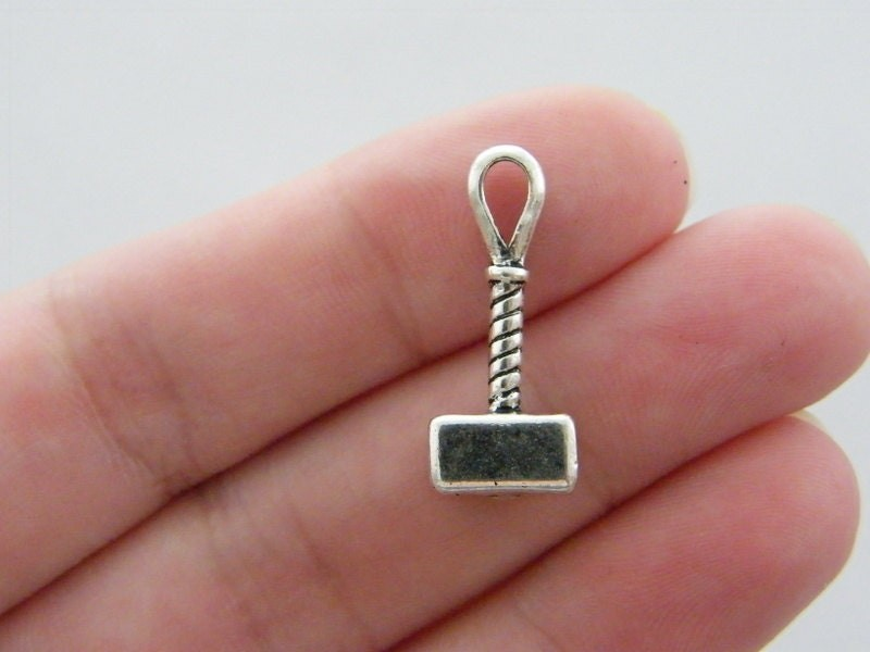 6  Mjolnir hammer  charms antique silver tone SW51