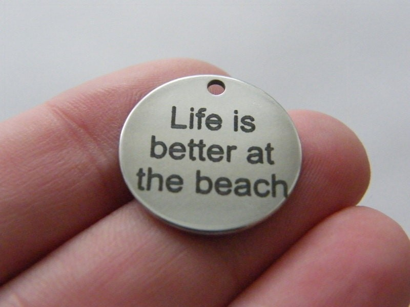 BULK 10 Life is better at the beach tag charm 20mm  stainless steel TAG9-1