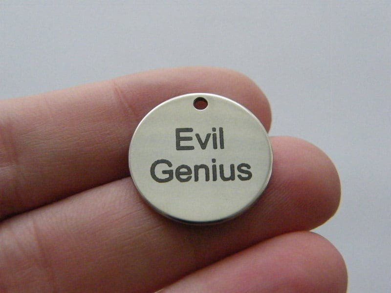 1 Evil Genius charm 20mm  stainless steel TAG9-1