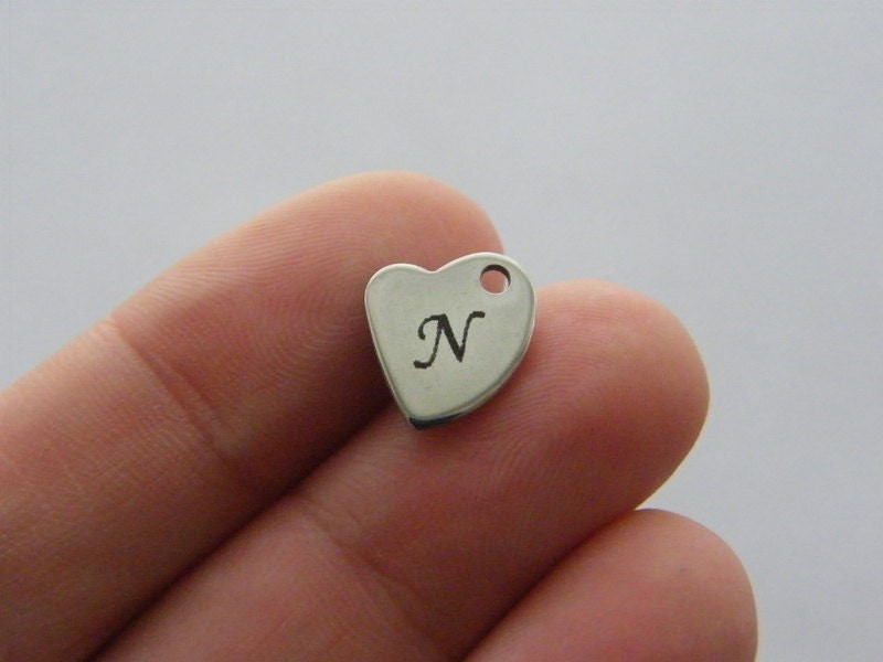 1 Custom made laser engraving heart tag charm 11 x 10mm TAG14