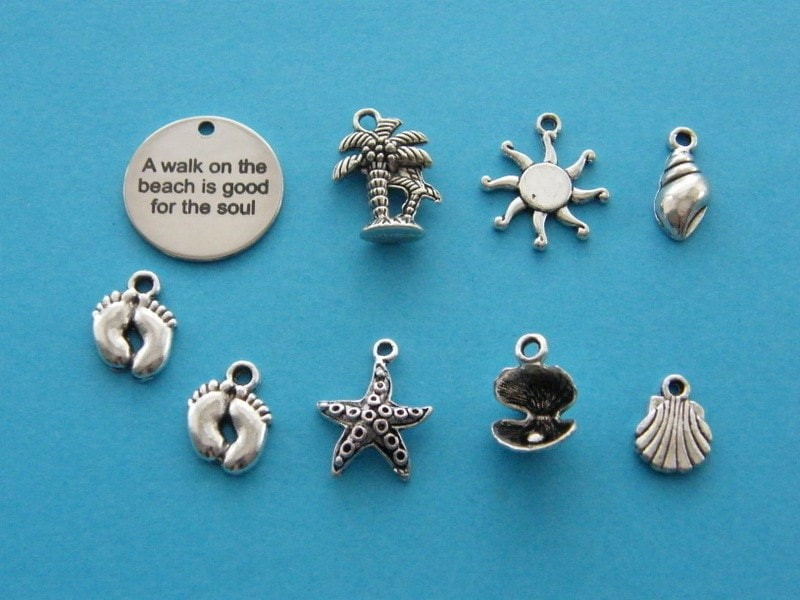 A walk on the beach is good for the soul collection - 9 antique silver tone charms