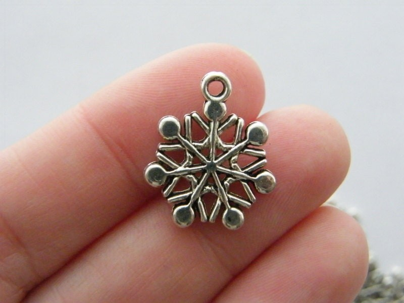 BULK 50 Snowflake Christmas charms antique silver tone SF15