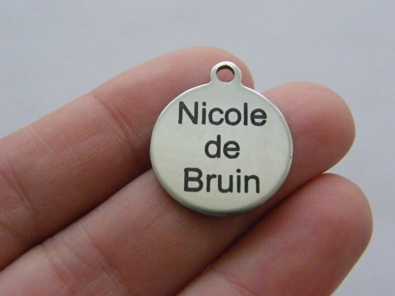 BULK 10 Custom made laser engraving - you choose the words tag charm 23 x 20mm stainless steel TAG20