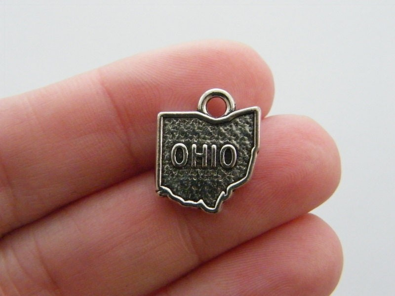 4 Ohio charms antique silver tone WT156