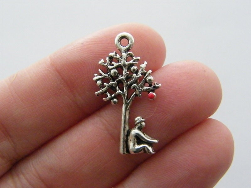 4 Tree charms antique silver tone T67
