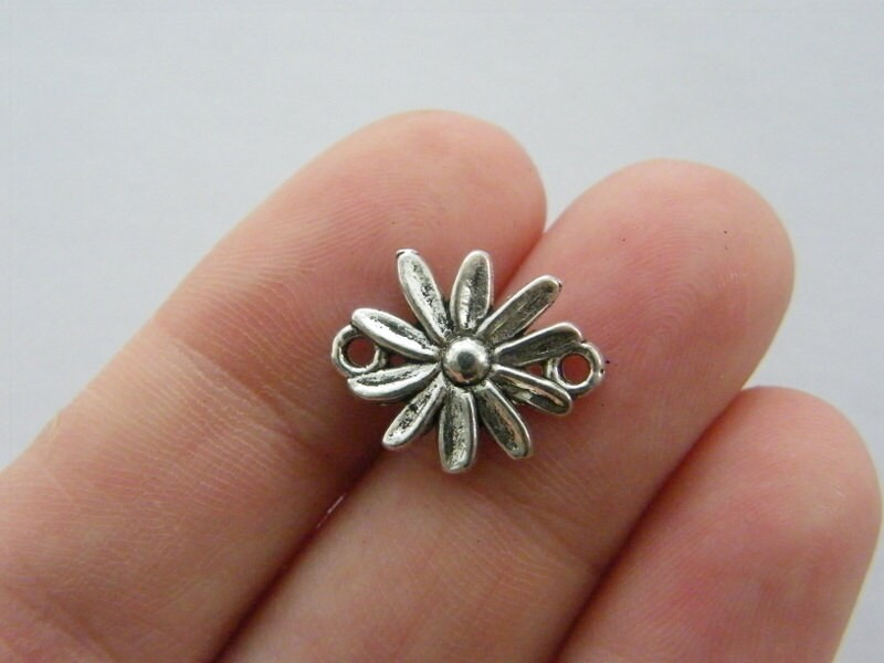 BULK 50 Flower connector charms antique silver tone F144
