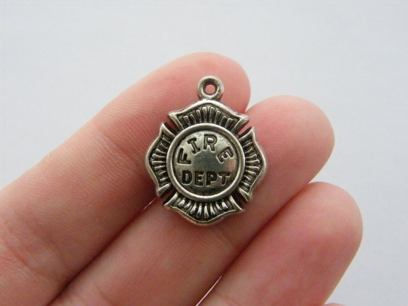 2 Fire dept charms antique silver tone P351