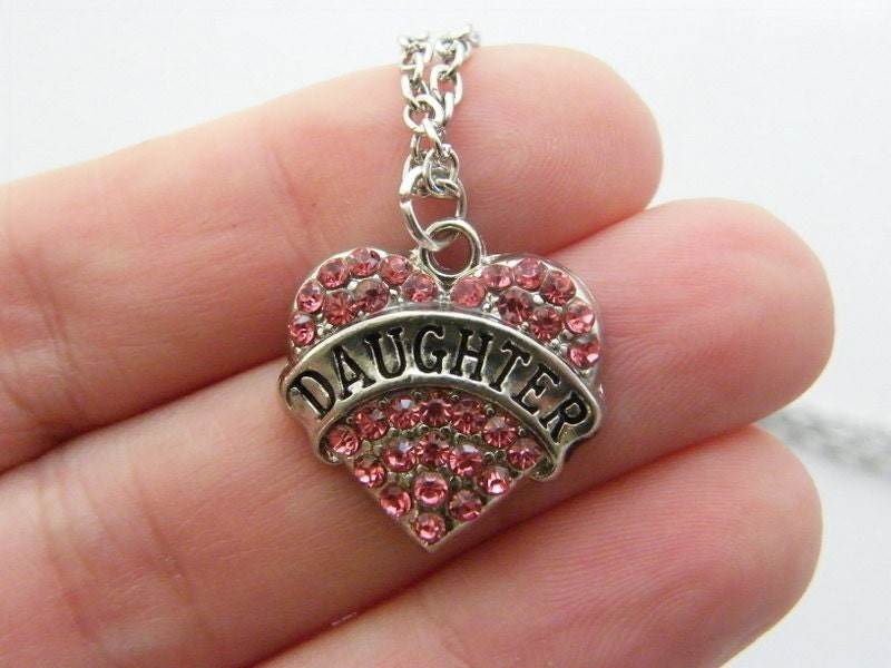1 Pink rhinestone daughter heart charm antique silver tone M548