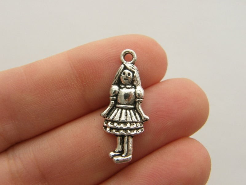 10 Girl charms antique silver tone P328