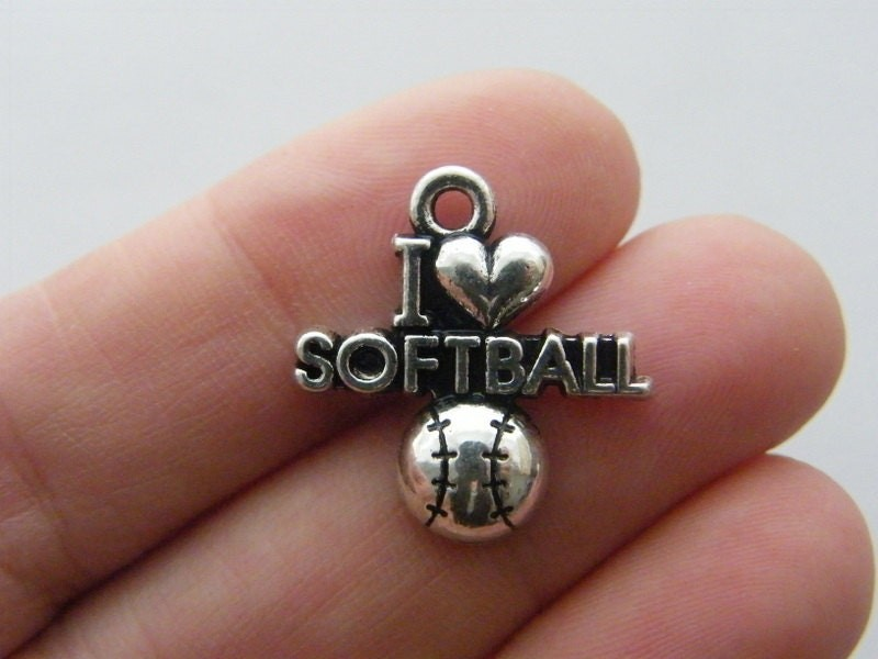 4 I love softball charms antique silver tone SP194