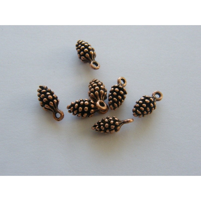 BULK 50 Pine cone charms antique copper tone CC39