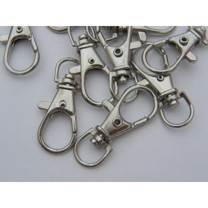 Cheap Price 10 Lobster Swivel Clasps 37mm Silver Tone Fs409 Beads & Jewelry Making Other Beads & Jewelry Making