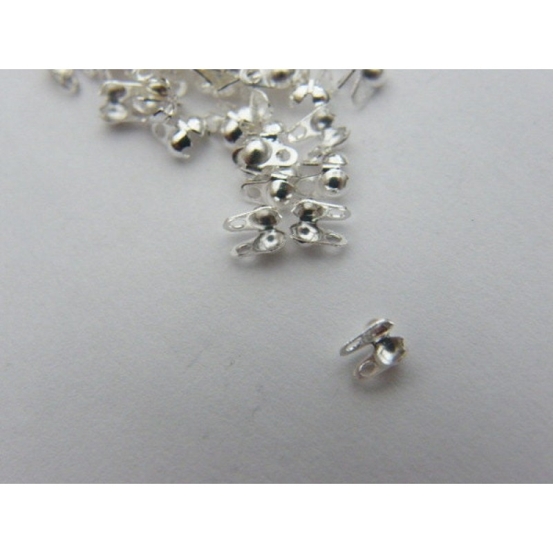 BULK 1000 Calottes end crimps for 1mm to 1.5mm ball chain 4 x 3.5mm silver tone