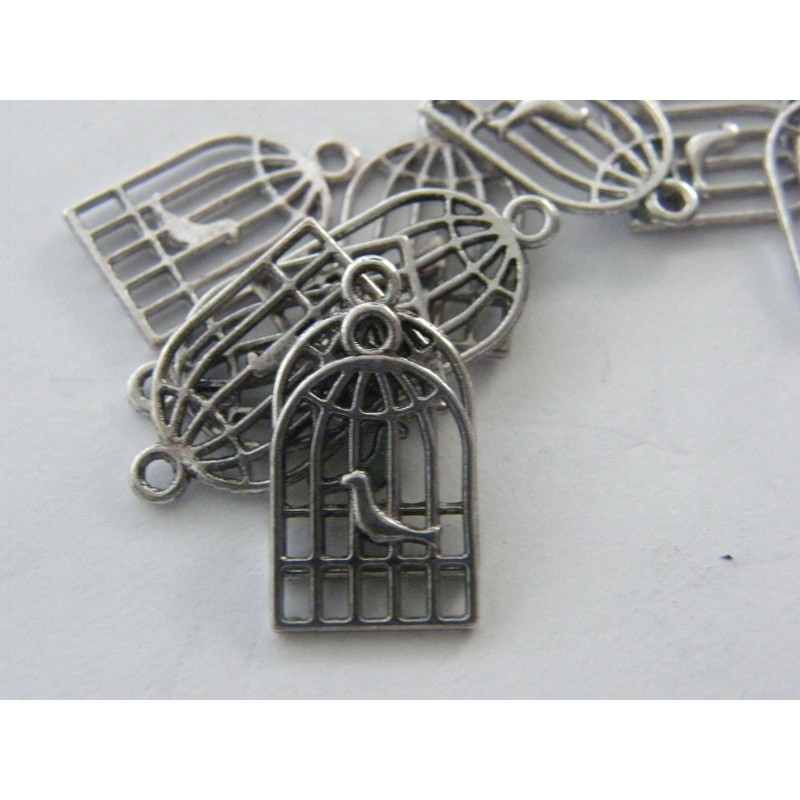 10 Bird cage charms antique silver tone B89