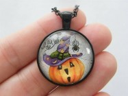 1 Pumpkin Halloween pendant necklace black tone HC226