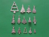 The Christmas Tree Collection - 14 different antique silver tone charms