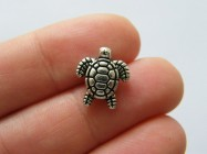 8 Turtle spacer bead charm antique silver tone FF452