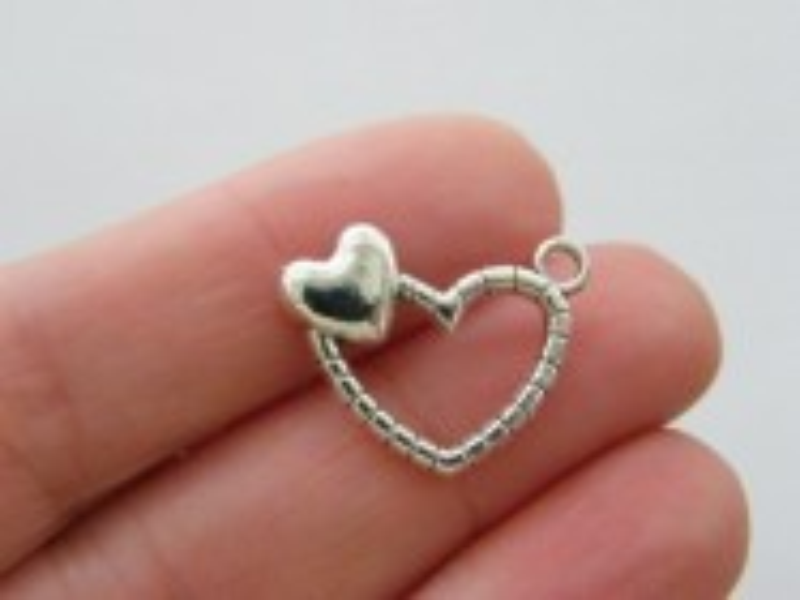 8 Heart pendants antique silver tone H233