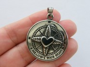 1 Follow your heart compass heart pendant antique silver tone stainless steel M64