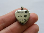 1 Always with you paw print heart urn ashes pendant titanium steel silver tone M111