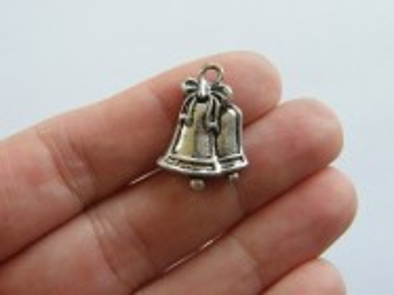 BULK 30 Bells charms antique silver tone CT43