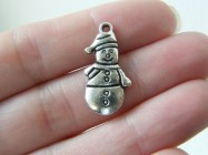 BULK 50 Snowman charms antique silver tone SF47