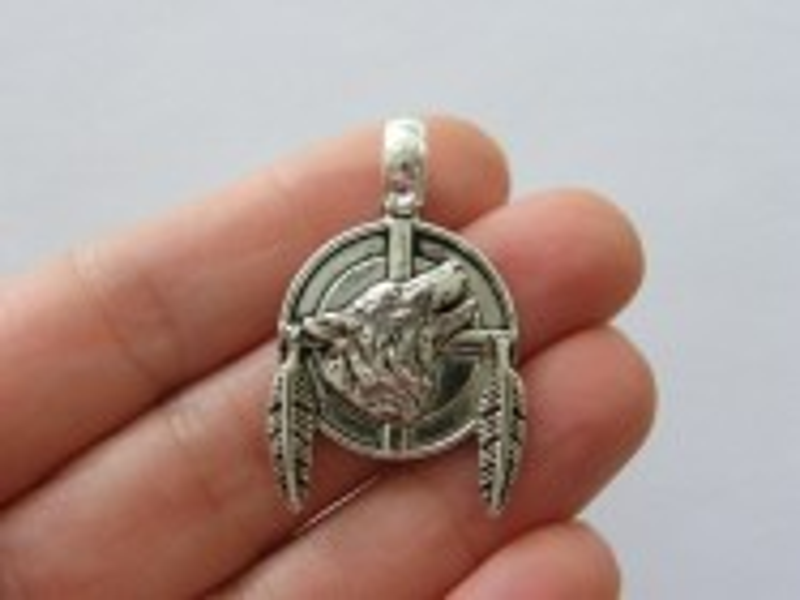 4 Wolf pendants antique silver tone A1101