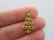 8 Christmas tree charms antique gold tone GC154