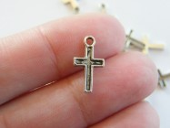 30 Cross charms antique silver tone C6