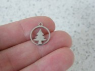 2 Christmas tree charms stainless steel CT55