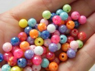 140 Faceted round beads random mixed 6mm acrylic AB34
