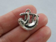 6 Sloth charms antique silver tone A345