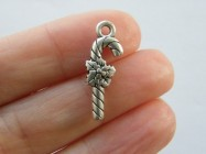 BULK 50 Candy cane charms antique silver tone CT216