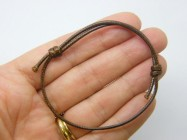 8  Waxed cord knot brown bracelet