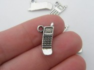 12 Cell phone mobile charms antique silver tone PT26